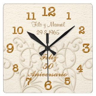 Feliz 50 Aniversario con los NOMBRES y la FECHA Reloj Cuadrado