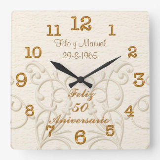 Feliz 50 Aniversario with Couple's NAMES and DATE Square Wall Clock
