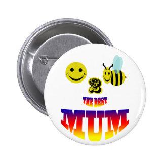 feliz, abeja 2 la mejor momia pin redondo de 2 pulgadas