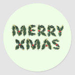 Feliz acebo de Navidad Pegatina Redonda