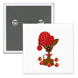 Feliz adornamiento del perro del navidad de Freaki Pin Cuadrada 5 Cm