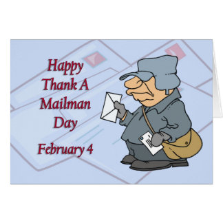 Feliz agradezca cartero día el 4 de febrero tarjeta de felicitación