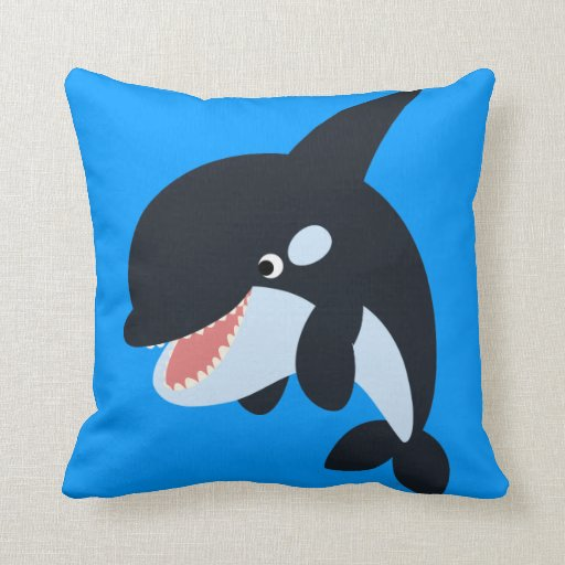 Feliz almohada linda de la orca del dibujo animado