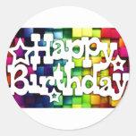 Feliz Aniversário - Happy Birthday Pegatina Redonda