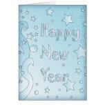 Feliz Año Nuevo 2010 - diseño azul con las estrell Tarjetón