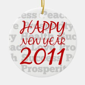 Feliz Año Nuevo 2011 Adorno Redondo De Cerámica