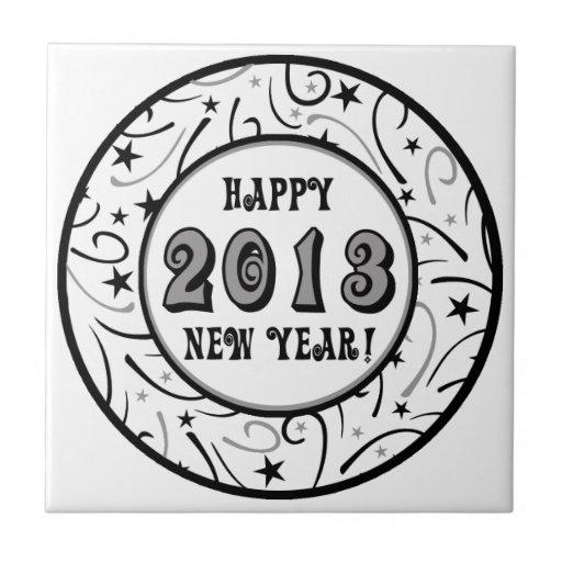 Feliz Año Nuevo 2013 Azulejo Cuadrado Pequeño