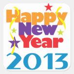Feliz Año Nuevo 2013 Calcomanías Cuadradass Personalizadas