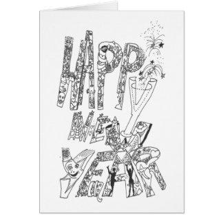 Feliz Año Nuevo 2016 - Doodles de los saludos de Tarjeta De Felicitación
