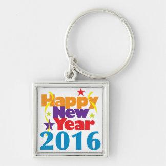 Feliz Año Nuevo 2016 Llavero Cuadrado Plateado