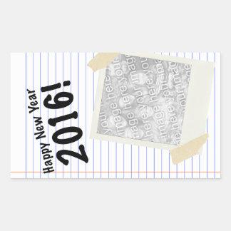 ¡Feliz Año Nuevo 2016! POLAROID Pegatina Rectangular