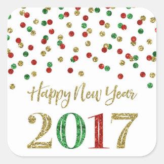 Feliz Año Nuevo 2017 del confeti rojo del brillo Pegatina Cuadrada