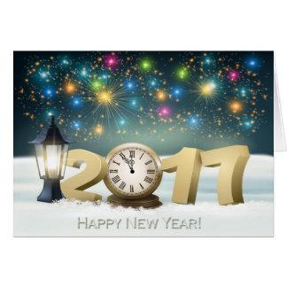 Feliz Año Nuevo 2017 - reloj/fuegos artificiales Tarjeta De Felicitación