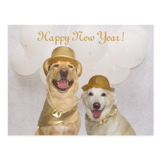Feliz Año Nuevo adaptable del perro/del laboratori Tarjeta Postal