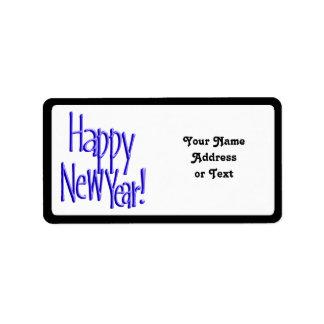 Feliz Año Nuevo - BlueText (añada el color de fond Etiqueta De Dirección