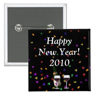 ¡Feliz Año Nuevo! Botón cuadrado Pin Cuadrado