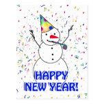 ¡FELIZ AÑO NUEVO! Celebración del muñeco de nieve Postal