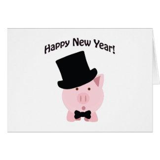 ¡Feliz Año Nuevo! Cerdo apuesto Tarjeta Pequeña