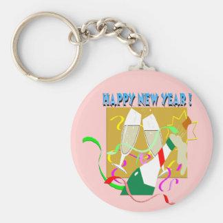 Feliz Año Nuevo Champán Llavero Redondo Tipo Pin