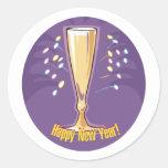 Feliz Año Nuevo Champán Pegatina Redonda