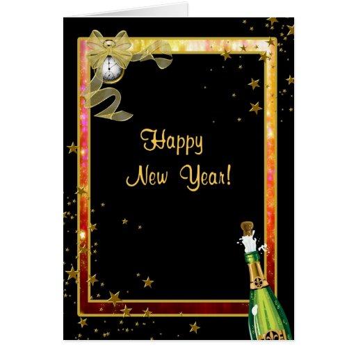 Feliz Año Nuevo, Champán, reloj, estrellas, saluda Tarjetas