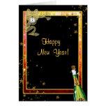 Feliz Año Nuevo, Champán, reloj, estrellas, Tarjeta De Felicitación