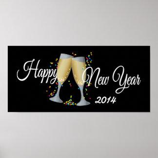 Feliz Año Nuevo Champán y confeti Impresiones
