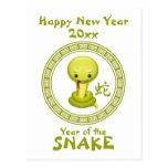 Feliz Año Nuevo china linda de la serpiente Postal