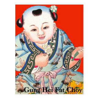 Feliz Año Nuevo china linda que ríe a Buda Tarjetas Postales
