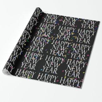 Feliz Año Nuevo chispeante en confeti Papel De Regalo