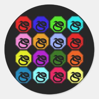 Feliz Año Nuevo colorida del arte pop de la Pegatina Redonda