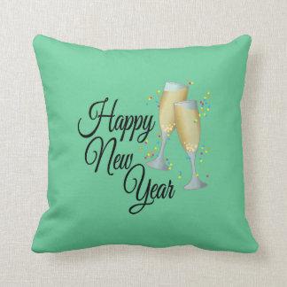 Feliz Año Nuevo con Champán y el confeti Cojín