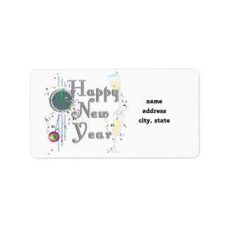 Feliz Año Nuevo con Champán y el confeti Etiquetas De Dirección