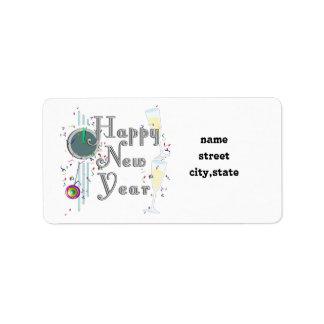 Feliz Año Nuevo con Champán y el confeti Etiqueta De Dirección