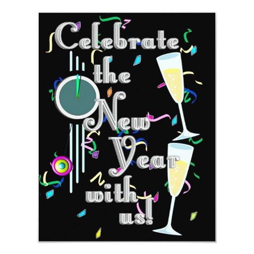 Feliz Año Nuevo con Champán y el confeti Invitación 10,8 X 13,9 Cm