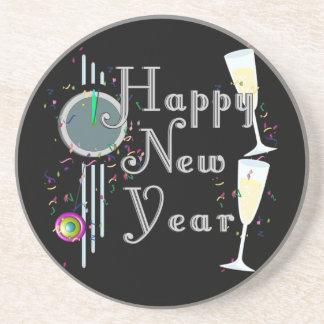 Feliz Año Nuevo con Champán y el confeti Posavasos Cerveza