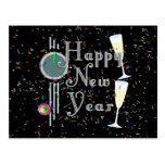 Feliz Año Nuevo con Champán y el confeti Postal