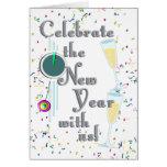 Feliz Año Nuevo con Champán y el confeti Tarjeta De Felicitación