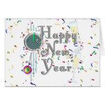 Feliz Año Nuevo con Champán y el confeti Felicitacion
