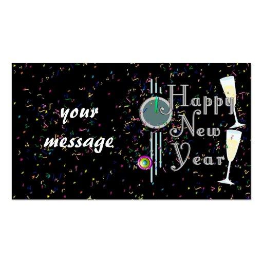 Feliz Año Nuevo con Champán y el confeti Tarjeta De Visita