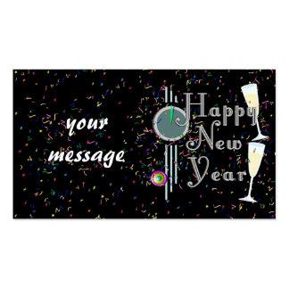 Feliz Año Nuevo con Champán y el confeti Tarjetas De Visita