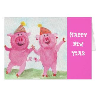 Feliz Año Nuevo con los cerdos del fiesta Tarjeta De Felicitación