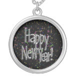 Feliz Año Nuevo - confeti de plata del texto Joyeria