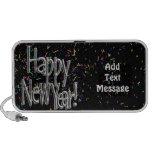 Feliz Año Nuevo - confeti de plata del texto w/Bla iPod Altavoz