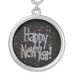 Feliz Año Nuevo - confeti de plata del texto w/Bla Joyeria