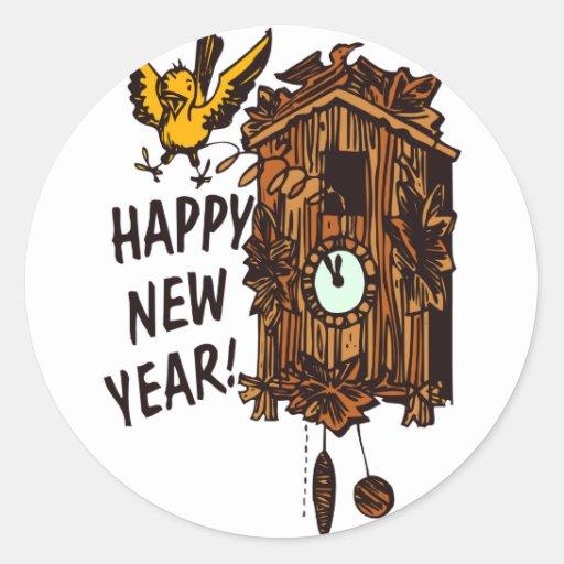 Feliz Año Nuevo CooCoo Pegatina Redonda