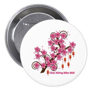 Feliz Año Nuevo de Hoa Dao Pin Redondo De 3 Pulgadas