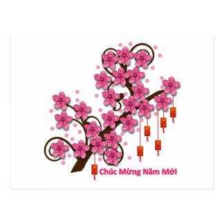 Feliz Año Nuevo de Hoa Dao Tarjetas Postales