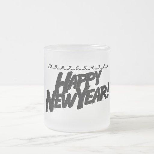 Feliz Año Nuevo de la cuenta descendiente Taza