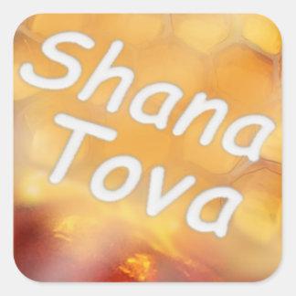 Feliz Año Nuevo de la miel de Shana-Tova Calcomanías Cuadradass Personalizadas